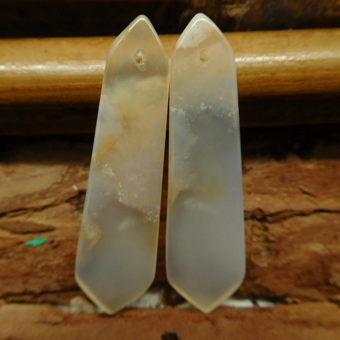 Sakura agate earring pair bead (G2725)