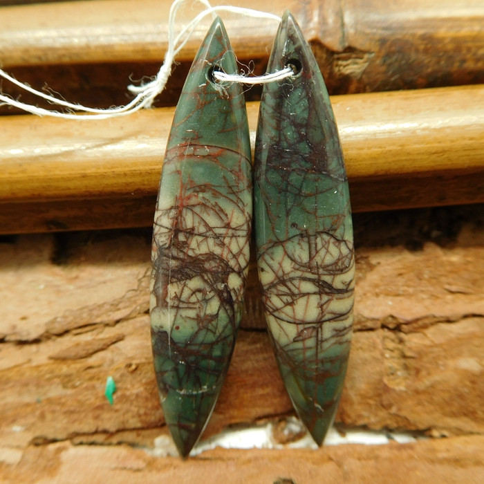 Red creek jasper earring pair (G2742)