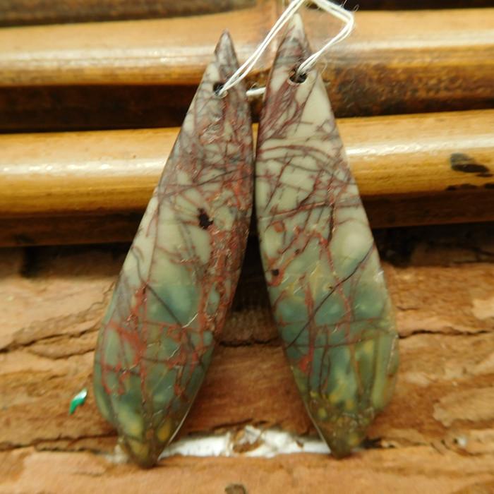 Long red creek jasper earring bead (G2744)