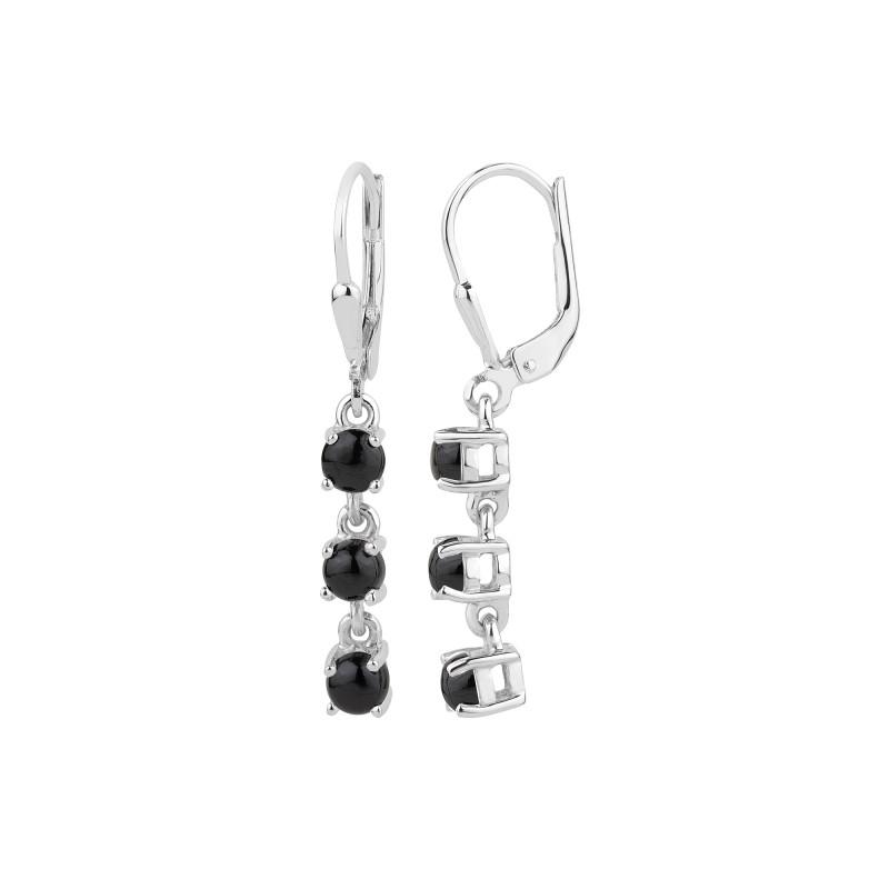 Black Spinel 925 Sterling silver earrings #33513