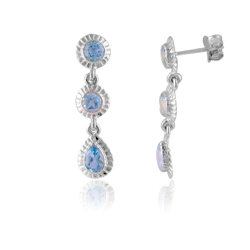 Sky Blue Topaz 925 Sterling silver earrings #7720