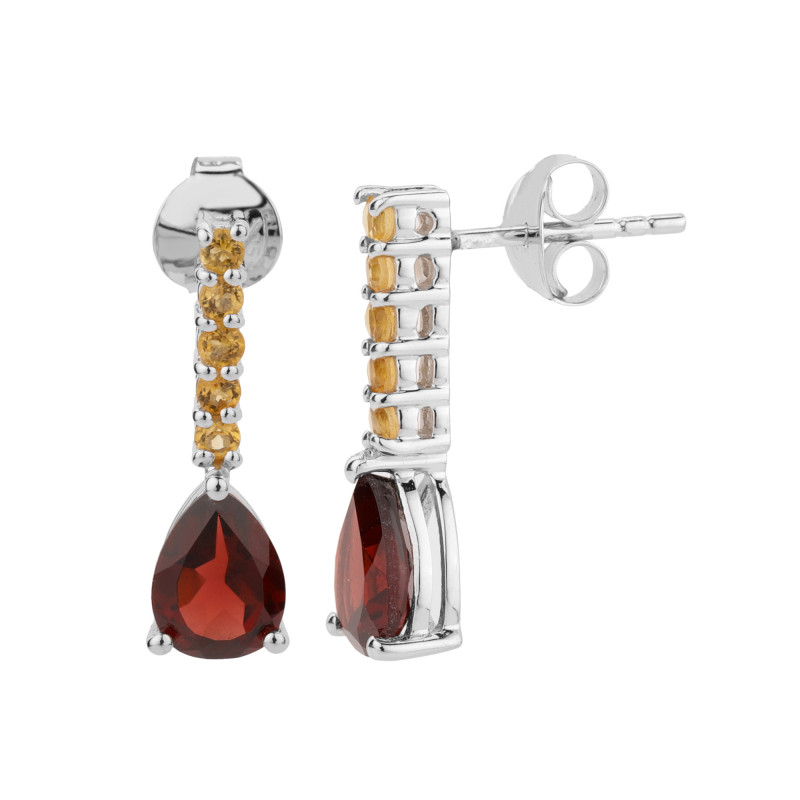 Garnet Citrine 925 Sterling silver earrings #7752