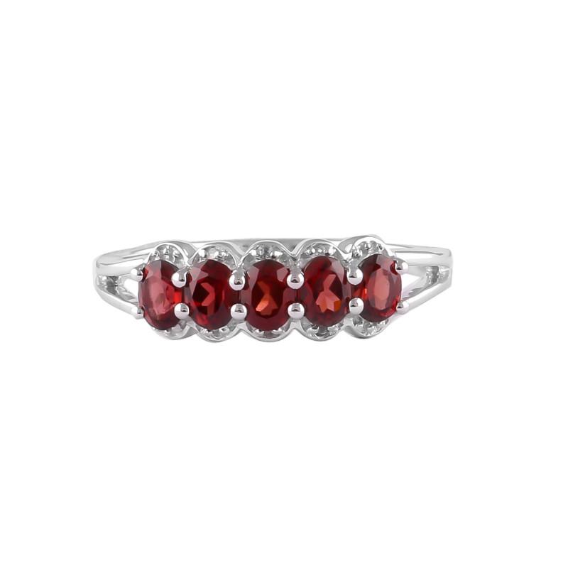 5 Stone Garnet 925 Sterling silver ring #36441