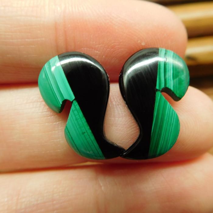 Gemstone malachite earring stud (21)