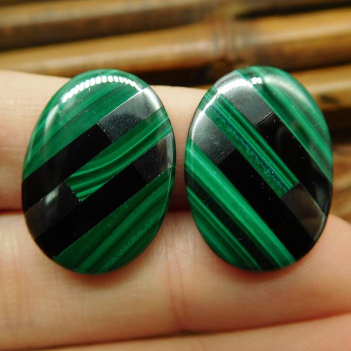 Hematite obsidian malachite earring stud pair (7)