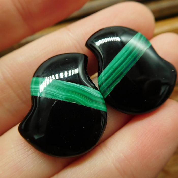 Gemstone malachite earring stud for lover (15)