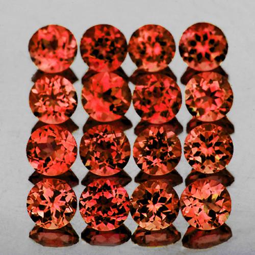 2.50 mm Round 30pcs 2.43ct Orange Red Rhodolite Garnet [VVS]