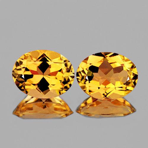 10x8 mm Oval 2 pcs 4.46cts Golden Yellow Citrine [VVS]