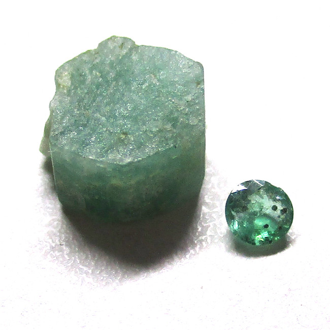 1.75tcw Emerald Rough and Cut Before and After Sample Set