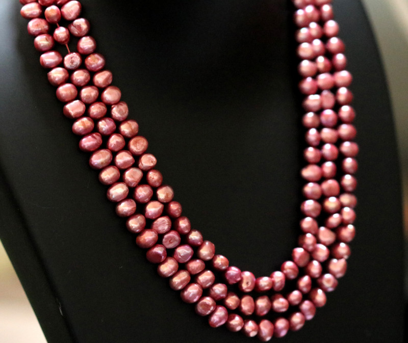 360 cts Set of 3 Electric Pink Baroque luster Pearl strand. GOGO 1298