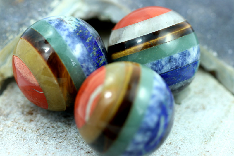 THREE Chakra 7 natural Gemstone Sphere shape AHA 523