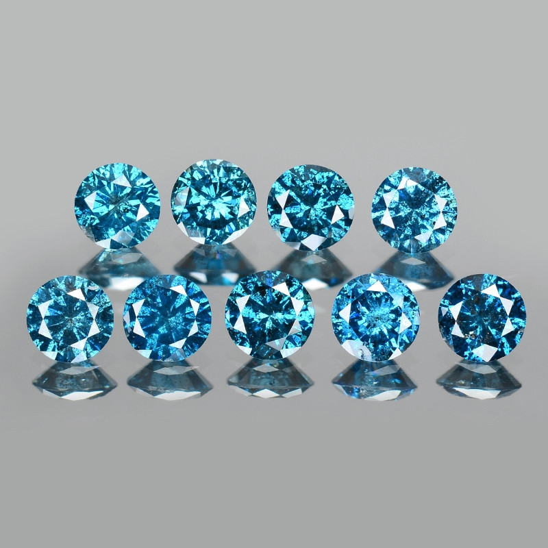 Diamond 1.75 Cts 9Pcs Sparkling Rare Fancy Blue Color Natural