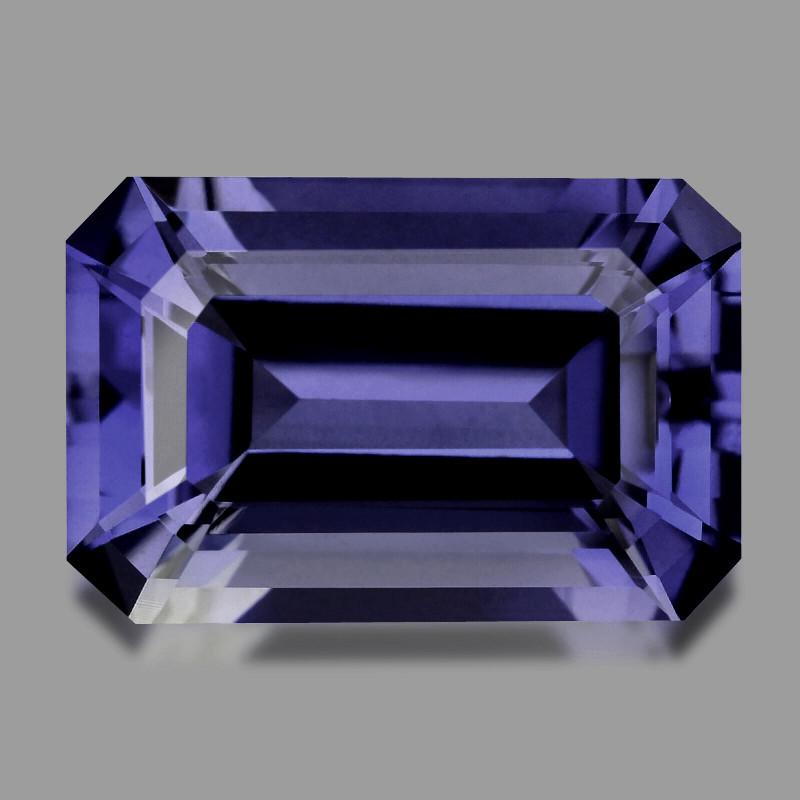 iolite faceted gemstone emerald cut
