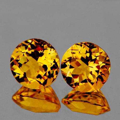 6.00 mm Round 2 pcs 1.43ct Golden Orange Citrine [VVS]