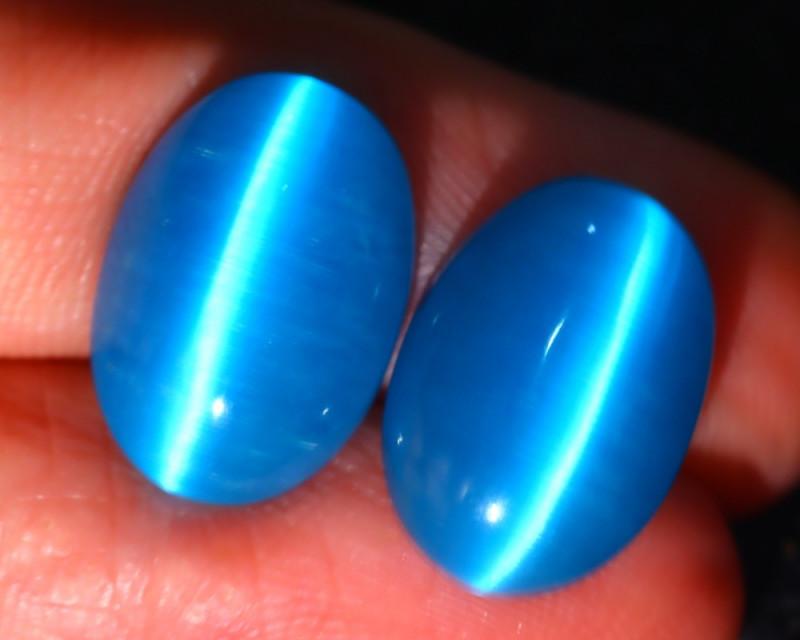 Agate Cat Eye 11.20Ct 2Pcs Natural Blue Agate Cat Eye E0601/C1
