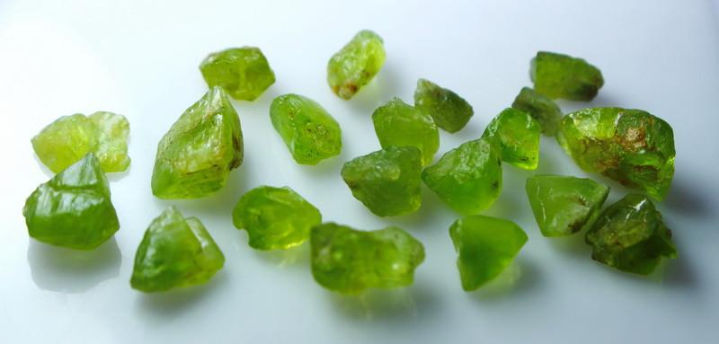 NR!!! 84.10  Cts Natural & Unheated~ Green Peridot Rough Lot