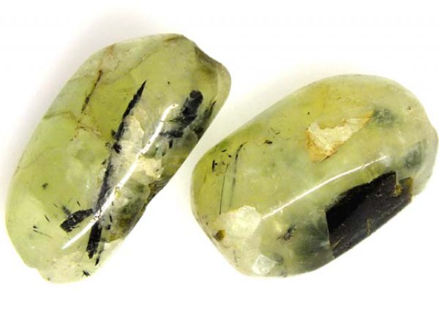 PREHNITE BEAD DRILLED 2 PCS 44 CTS  NP-1341