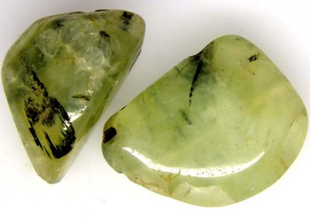 PREHNITE BEAD DRILLED 2 PCS 53.7 CTS  NP-1343