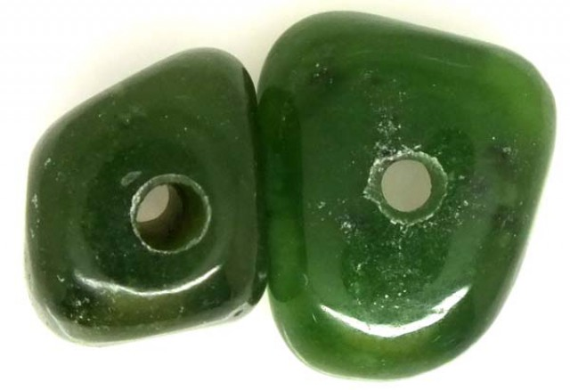 NATURAL SOLID JADE BEAD 2 PC 37 CTS TBG-1670