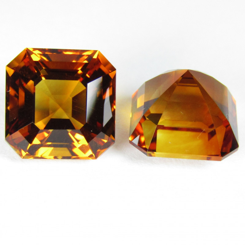 12.15Cts Wow Amazing Natural Citrine Asher Cut 10.5mm Collection Pair SEE V