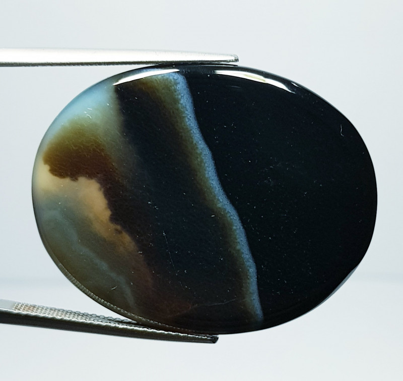 44.87 ct Natural Black Lace Agate Oval Cabochon  Gemstone