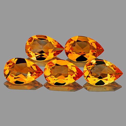 9 x6 mm Pear 5 pieces 5.50cts Golden Orange Citrine [VVS]