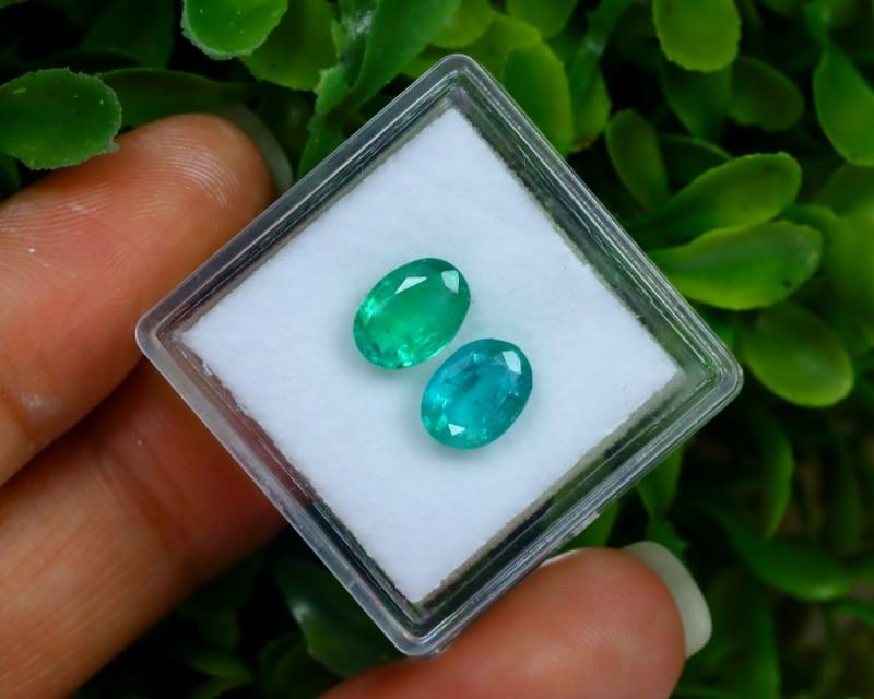 2.11Ct 2Pcs Natural Afghanistan Green Panjshir Emerald C0908