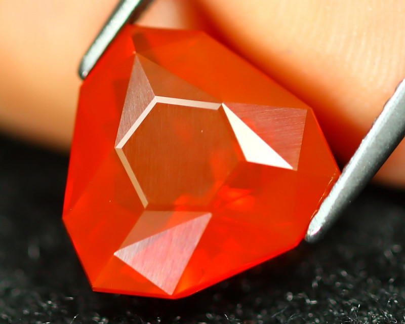 3.21Ct Master Trillion Cut Natural Mexican Red Fire Opal C0918