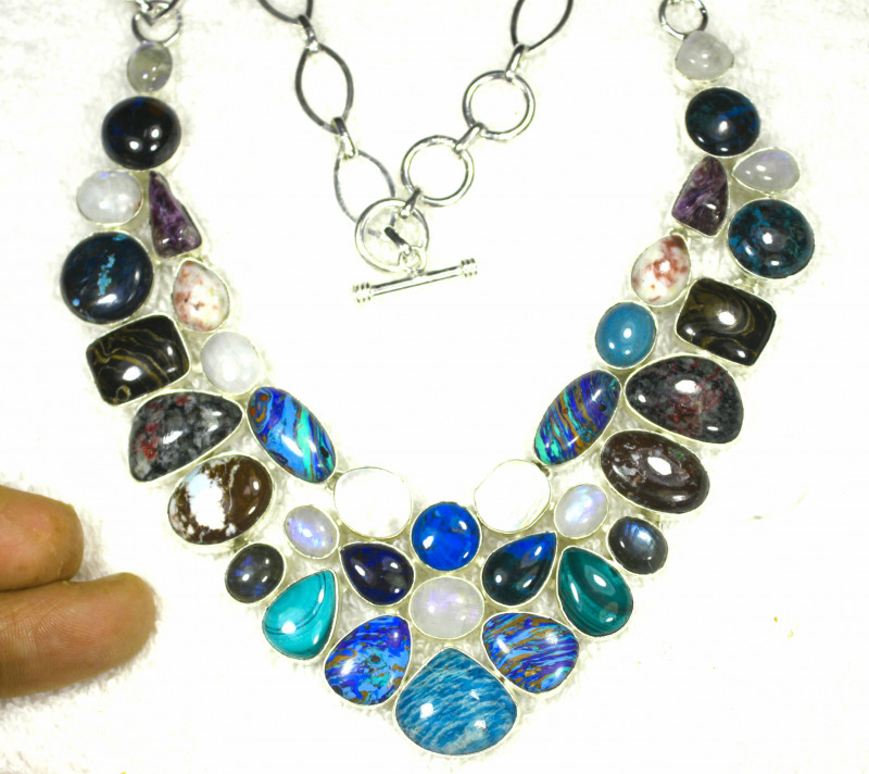 577.0 Sterling Silver / Mixed Gemstone Necklace - Gorgeous