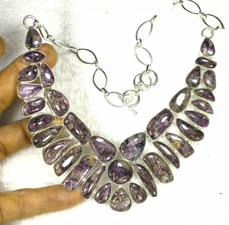 574.0 Tcw. Russian Charoite 925 Sterling Silver Necklace 18