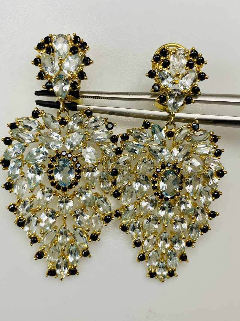 LIGHT BLUE Topas-BLACK SPINEL EARRINGS- , SILVER GOLD PLATED  UNUSED - COLL