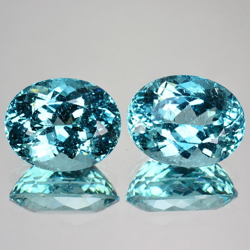 18.45 Cts Beautiful Natural Apatite - Aqua Blue - Oval - Pair-Brazil
