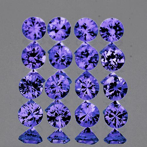 2.00 mm Round Machine Cut 20 pcs 0.81ct Violet Blue Sapphire [VVS]