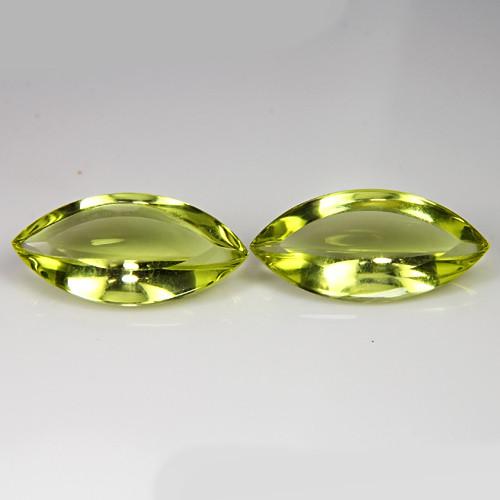 7.42Cts Genuine Natural Lemon Quartz Marquise cabochon Pair REF VIDEO