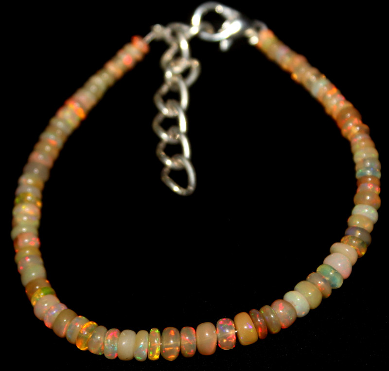 14 Crts Natural Ethiopian Welo Fire Opal Beads Bracelet 958