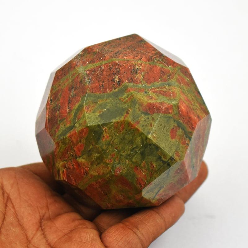 Genuine Unique Faceted Unakite Healing Ball Sphere