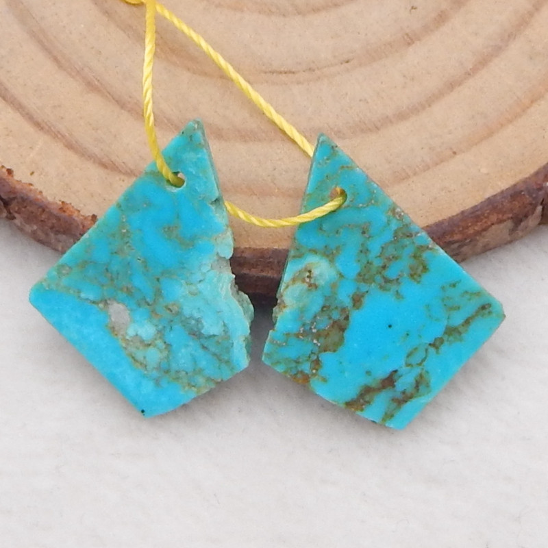 8cts lucky turquoise earrings pair, handmade gemstone,lucky stone beads D11