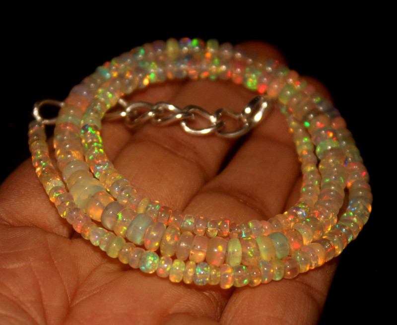 32.25 Crts Natural Ethiopian Welo Opal Beads Necklace 567