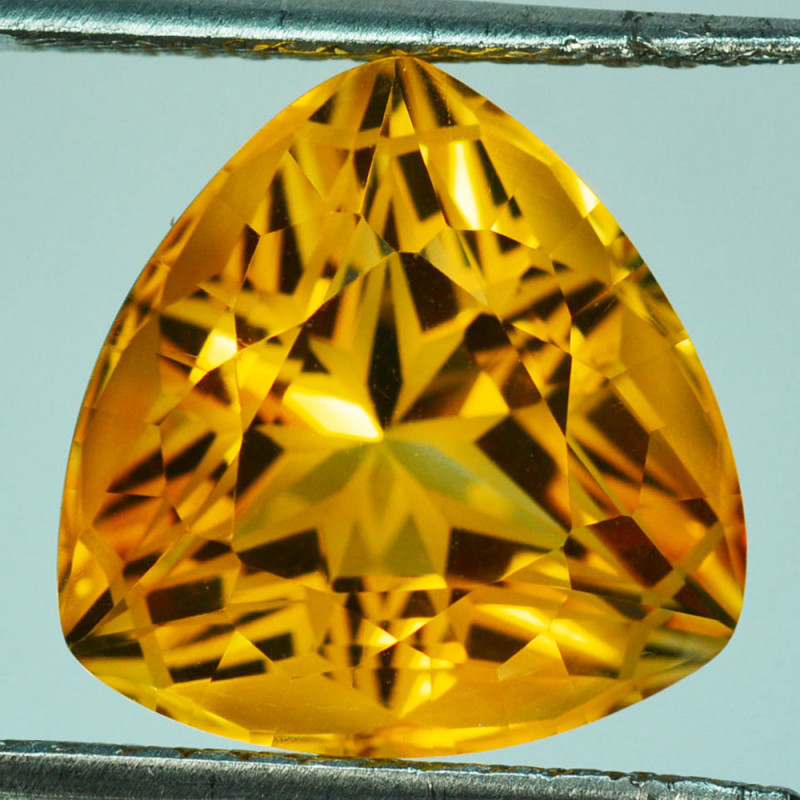 ~CUSTOM CUT~ 13.89 Cts Natural Golden Orange Citrine Fancy 15.50mm Trillion