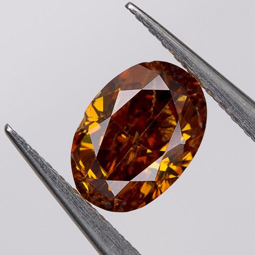 Fancy Deep Orange Yellow Loose Natural Diamond 0.36 Ct. SI2 Untreated