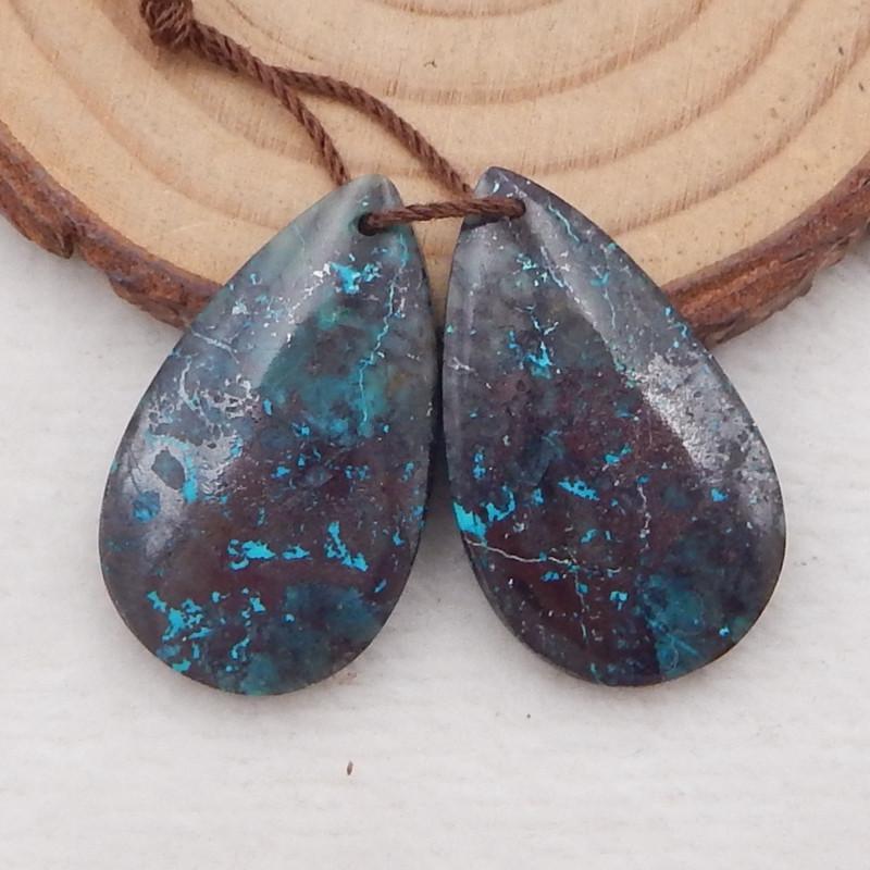 33.5cts natural chrysocolla earrings pair ,teardrop earrings ,designer maki