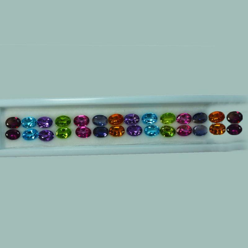 21.64 Cts Natural Semi Precious Mix Stones 7 x 5mm Oval 28Pcs Parcel