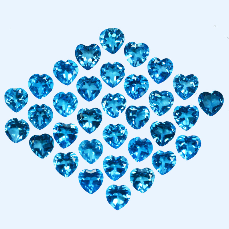 49.56 Cts Natural Baby Blue Topaz  6mm Heart Cut  Parcel USA