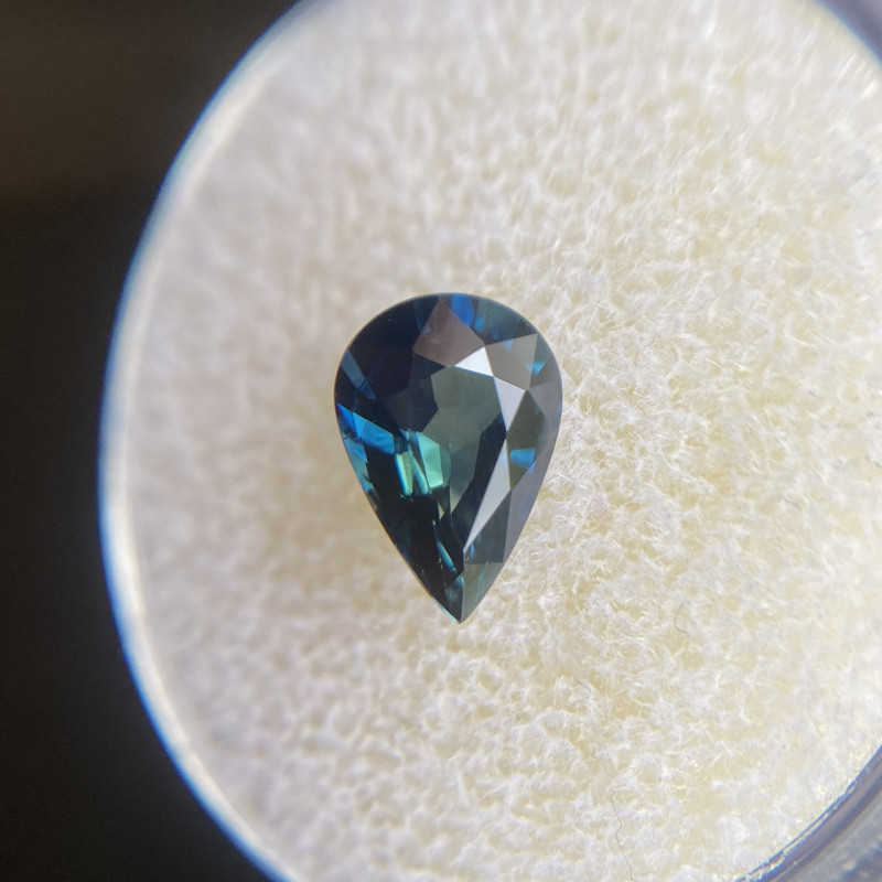 Australian Deep Green Blue Sapphire 1.46ct Pear Teardrop Cut Rare Gem 8.7x6