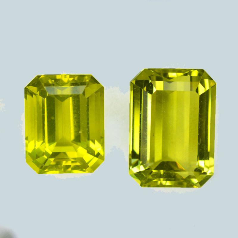 17.37Cts Natura Lemon Yellow Prasiolite Quartz Octagon 3pcs Brazil