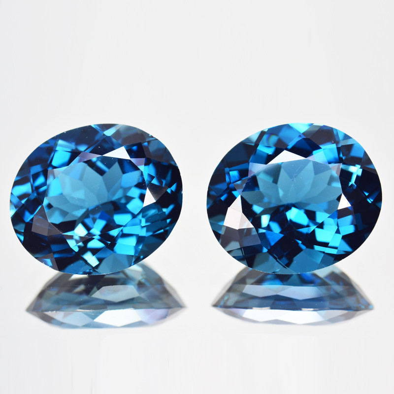 ~PAIR~ 17.62 Cts Natural London Blue Topaz  14 X 12mm Oval Cut