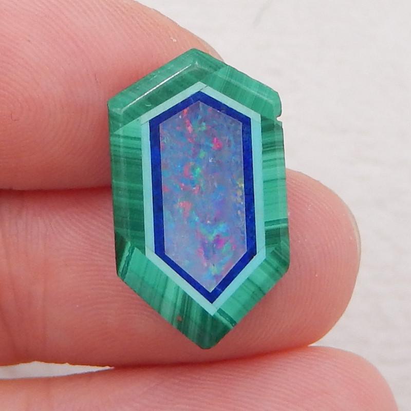 5cts new malachite, lapis lazuli and opal intarsia cabochon for desinger i0