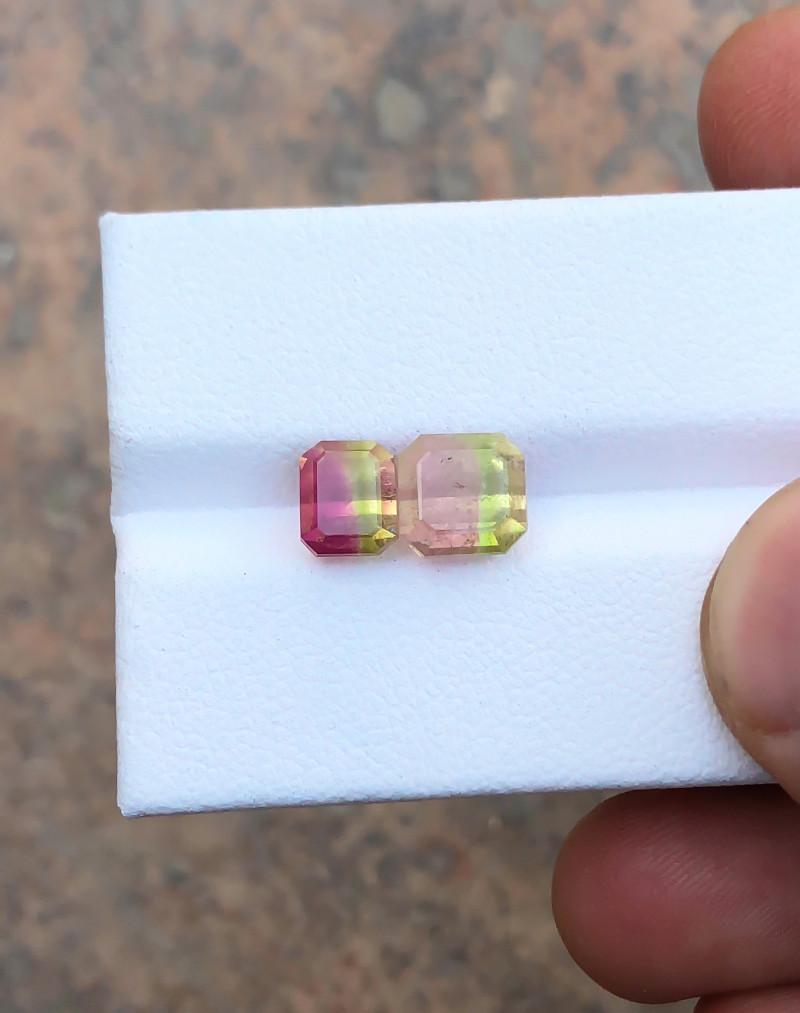 3.85 Ct Natural Bi Color Transparent Tourmaline Gemstones Pairs