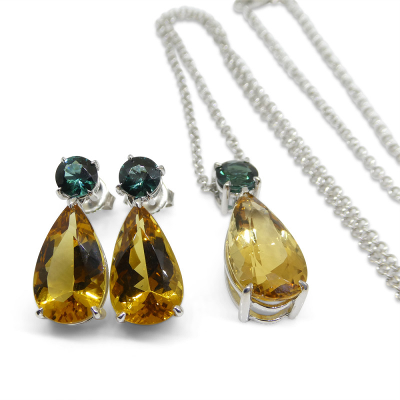 14.05ct Heliodor and Indicolite Tourmaline Earrings and Pendant set in 14kt