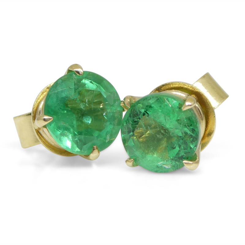 1.48ct Round Emerald Stud Earrings set in 14kt Yellow Gold